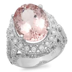 9.27 ct Morganite & Diamond Ring on 14K White Gold