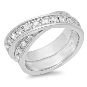 Criss Cross Diamond Ring on 14K Gold