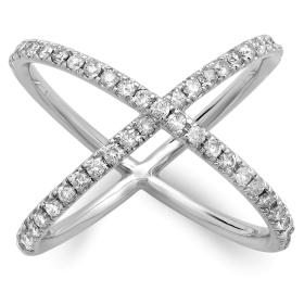 Diamond X Ring White Gold