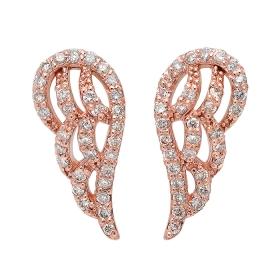 Diamond Angel Wing Earrings on 14K Rose Gold