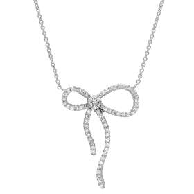 Diamond Ribbon Bow Necklace on 14K White Gold