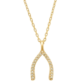 Diamond Wishbone Necklace on 14K Yellow Gold