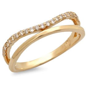 Double Band Curved Diamond Ring on 14K Yellow Gold