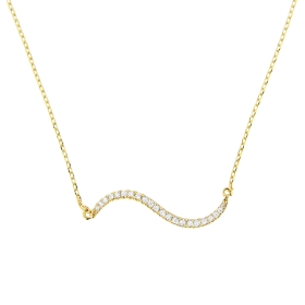 Double Curve Diamond Bar Necklace on 14K Yellow Gold