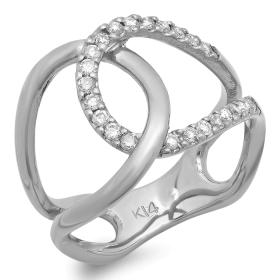 Double Interlock Diamond Ring 14K Gold