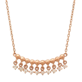 Golden Beaded Diamond Pendant Necklace on Rose Gold