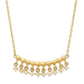 Golden Beaded Diamond Pendant Necklace on Yellow Gold