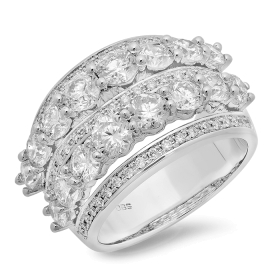 Multi Row 3.66 ct Diamond Fashion Ring on 14K White Gold