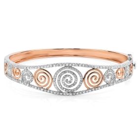 Spiral Rose Gold & Diamond Bangle
