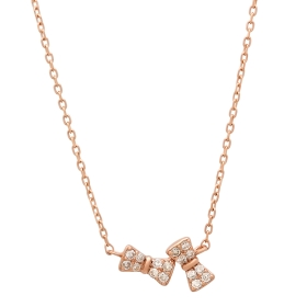 Twin Bow Diamond Pendant Necklace on 14K Rose Gold