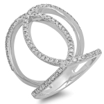 0.69ct Multi-Curve Double Diamond Ring on 14K White Gold