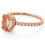 1 carat Morganite and Diamond Ring on 14K Rose Gold