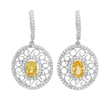 1.96ct Yellow Saphhire and Diamond Earrings on White Gold
