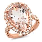 10 carat Pear Morganite Rose Gold Ring