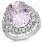 13.88ct Oval Cut Kunzite and Diamond Ring on 14K White Gold
