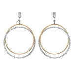 2.45ct Double Hoop Diamond Earrings on 14K Two Tone Gold