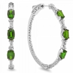 3.10ct Chrome Diopside Diamond Earrings on White Gold