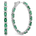 4.68ct Emerald and Diamond Earrings on 14K White Gold