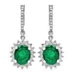 4.82ct Emerald and Diamond Drop Earrings on 14K White Gold