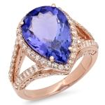 6.69ct Pear Cut Tanzanite Diamond Ring on 14k Rose Gold