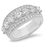 7 Stone 3 Channel Diamond Ring on 14K Gold