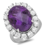 9.91ct Amethyst and Diamond Ring on 14k White Gold