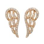 Diamond Angel Wing Earrings on 14K Yellow Gold