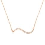 Double Curve Diamond Bar Necklace on 14K Rose Gold
