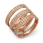 Triple Stack Diamond Tower Ring on 14K Rose Gold