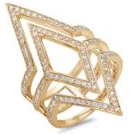 V style Diamond Fashion Ring on 14K Yellow Gold