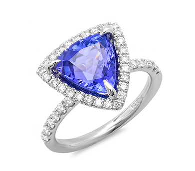 Trillion Cut Tanzanite and Diamond Ring on White Gold