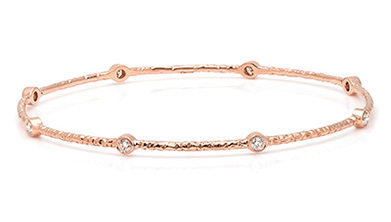 Hammered Effect Diamond Bangle on Rose Gold
