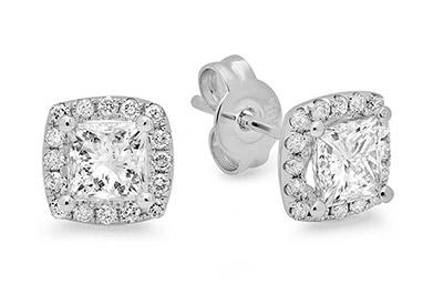 Princess Cut Diamond Stud Earrings on White Gold