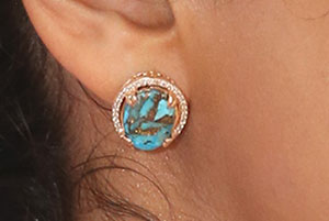Copper Turquoise Diamond Gold Earrings