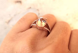 Morganite & Diamond Ring on Gold